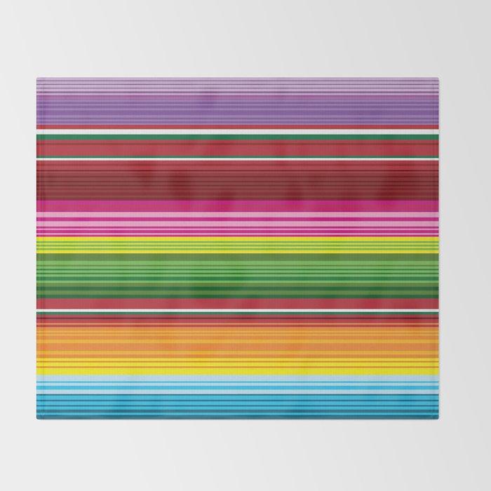Mexican Blanket Rainbow Striped Throw