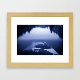 Smooth Sailing kayaking monochrome reflections Framed Art Print