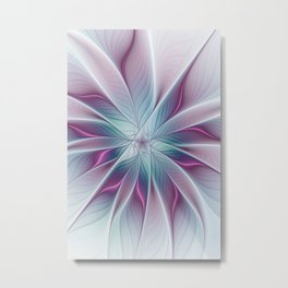 Floral and Luminous, abstract Fractal Art Metal Print