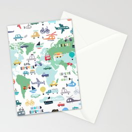 Travel The World Trains Planes Cars Trucks Map Stationery Cards