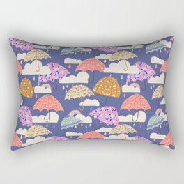 Rainy Day on Blue Rectangular Pillow