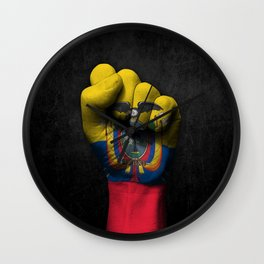 Ecuadorian Flag on a Raised Clenched Fist Wall Clock