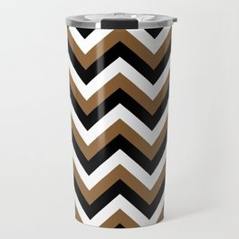 Brown White and Black Chevrons Travel Mug