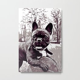 french bulldog basketball vector art black white Metal Print