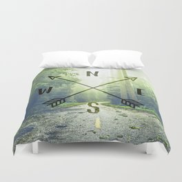 Compass in the Redwoods Duvet Cover
