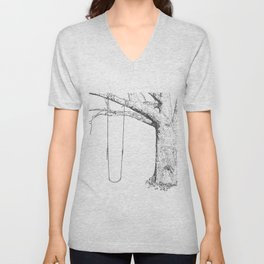 tree and swing, drawing black and white Unisex V-Neck
