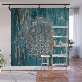 Silver Hamsa Hand On Turquoise Wood Wall Mural