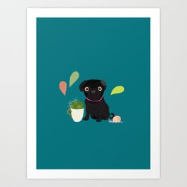 BlackPug with Cactus Art Print