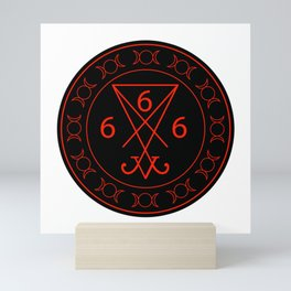 666- the number of the beast with the sigil of Lucifer symbol Mini Art Print