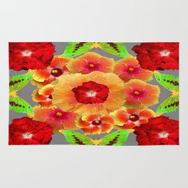 Kiwi Green Butterflies Red-Golden-pink Tropical Hibiscus Abstract Art Rug