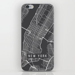 New York City Map, Manhattan New York USA - Charcoal Portrait iPhone Skin