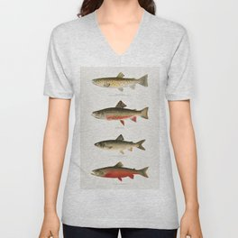 Illustrated North American Freshwater Trout Game Fish Identification Chart Unisex V-Neck
