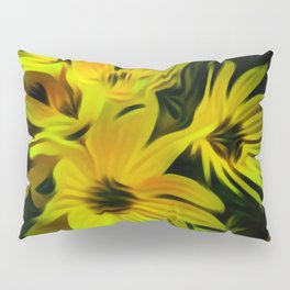 Abstract Yellow Flower Image Pillow Sham