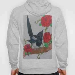 Magpie and Tattoo Roses Hoody