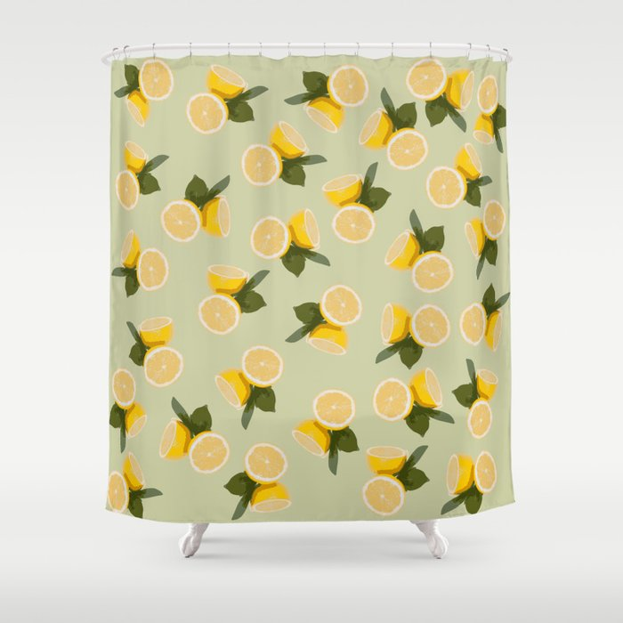 Yellow Citrus Lemon Fruit On Pale Lime Green Shower Curtain By Blackstrawberry