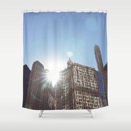 The Sun Piercing the Chicago City Skyline Shower Curtain