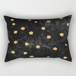 Gold Dots on Black Space Pattern Rectangular Pillow