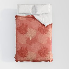 Fan Coral Print, Shades of Coral Orange Comforters