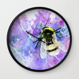 Bumblebee and Lavender Flowers Herbal Bee Honey Purple Floral design Wall Clock