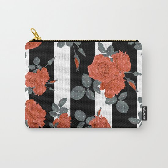 Orange roses on a striped background. Carry-All Pouch