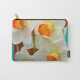 WHITE-GOLD NARCISSUS FLOWERS BLUE-BROWN Carry-All Pouch