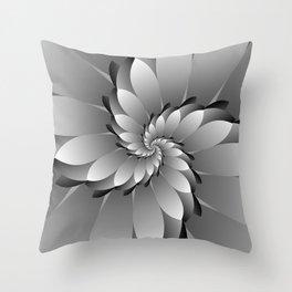 3D Black & Grey Spiral Art Throw Pillow