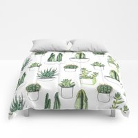 Comforters featuring watercolour cacti and succulent by Vicky Webb