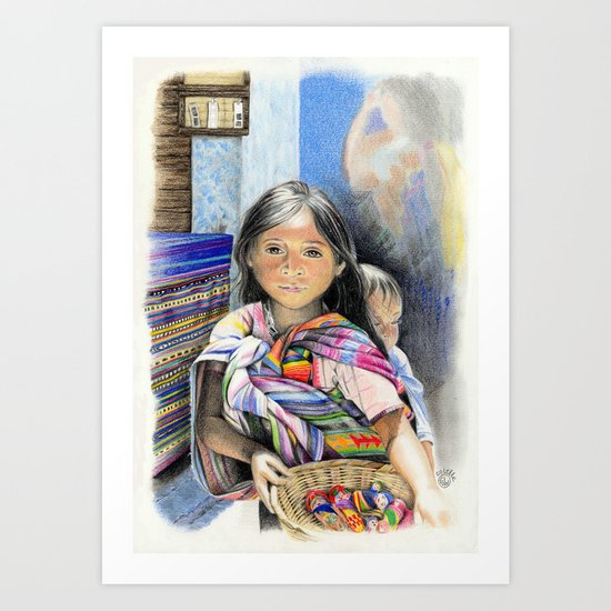 CHILD AT A MARKET IN CHIAPAS, MEXICO Art Print