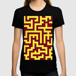 Electric Yellow and Burgundy Red Labyrinth T-shirt