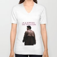 castiel V-neck T-shirts featuring CASTIEL by mycolour