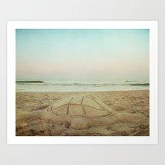 Seaside Sand Turtle Art Print