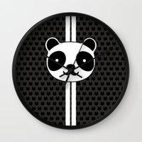 racing Wall Clocks featuring Racing Panda by XOOXOO