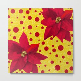 Poinsettia Red and Gold Pattern Metal Print