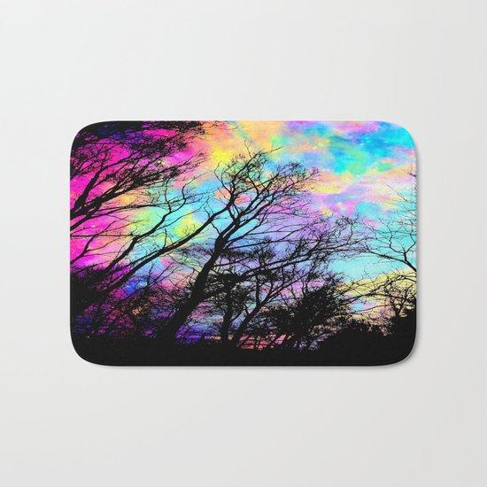 Black Trees Colorful space. Bath Mat