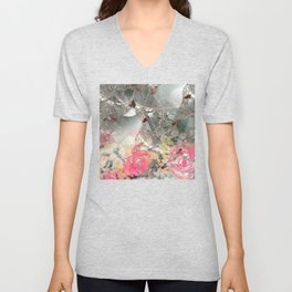 Misty rose garden Unisex V-Neck