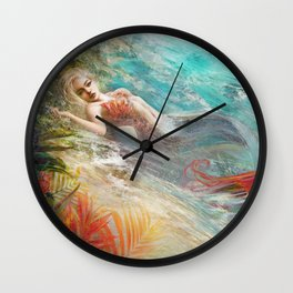Mermaid sunbathing on the beach fantasy Wall Clock