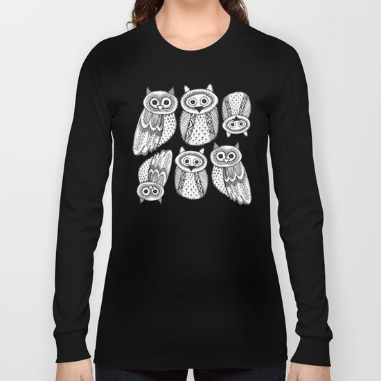 Hand dravn Cute Owl Long Sleeve T-shirt