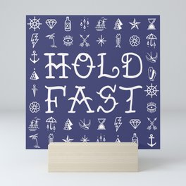 Uncle Knuckles - Hold Fast - White on Navy Mini Art Print