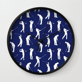 Golfers // Midnight Blue Wall Clock
