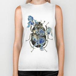 Beetle in blue irises Biker Tank