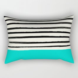 Aqua & Stripes Rectangular Pillow