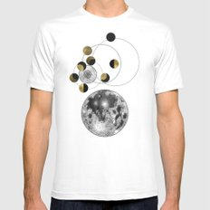 Blue Moon White Mens Fitted Tee MEDIUM
