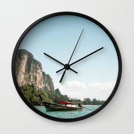 Tropical island Longtail - Railay beach, Krabi, Thailand - Travel photography Wall Clock