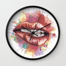 Red Lips stylized art Wall Clock