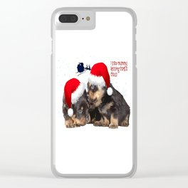 Puppy White Christmas I Saw Mummy Kissing Santa Claus Clear iPhone Case