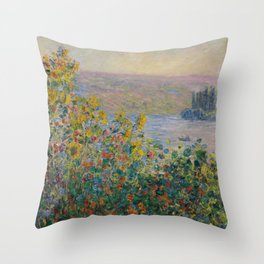 Flower Beds at Vétheuil, Claude Monet Throw Pillow