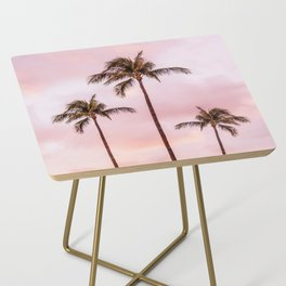 Palm Tree Photography Landscape Sunset Unicorn Clouds Blush Millennial Pink Side Table