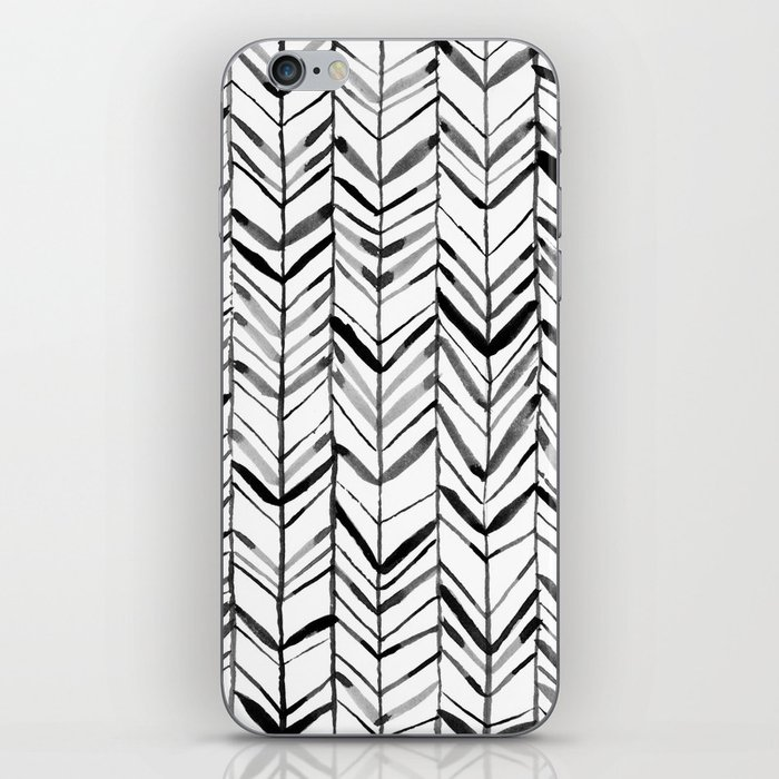 Black and White Watercolor Chevron Painting iPhone Skin