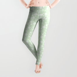 Magical Mint Green and White Stars Pattern Leggings
