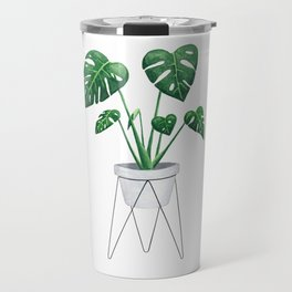 Monstera in designer plant stand with green leaves and foliage Travel Mug